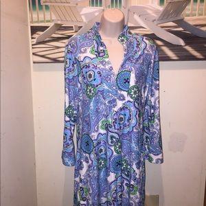 JUDE CONNALLY Dress S Blue Purple  Paisley STRETCH